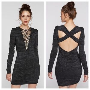 Free People Look Of Love Black Bodycon Dress